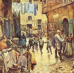 a view of Rome's lanes, from one of the many 19th century paintings by Ettore Roesler Franz
